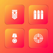 Set Chevron, Bullet, Military Reward Medal And Target Sport Icon. Vector