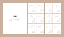 Calendar 2022 Trendy Minimalist Style. Set Of 12 Pages Desk Calendar. 2022 Minimal Calendar Planner Design For Printing Template. Vector Illustration