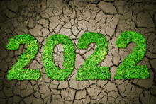 Green Grass Shaping Number 2022 On Dried Soil