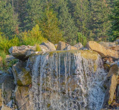A beautiful waterfall in the tourist destination of Coeur D'Alene, Idaho