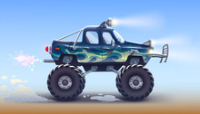 A Sports Off Road Pickup Truck With Large Wheels, Headlights, A Strong Bumper, Shock Absorbers Drives . Big Green Car Jeep 4x4 Drawing. High Detailed Vector Illustration