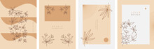 Abstract Minimalist Hand Drawn Floral Background Templates, Suitable For Wall Decoration, Wallpaper, Cover, Invitation, Banner, Brochure, Poster, Or Card