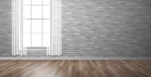 Empty Room Interior Design  Wooden Floor Brick Wall Window Curtain Vector Illustration