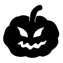 Black Isolated Carved Face Halloween Pumpkin