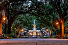 Famous Historic Forsyth Fountain In Savannah, USA