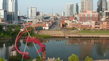 Ghost Ballet, Waterfront And Lower Broadway. Nashville Urban City Skyline By Cumberland River In Davidson County, Tennessee.