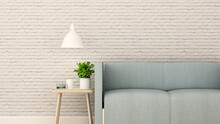 Living Room In Home Or Apartment On White Brick Wall Decorate