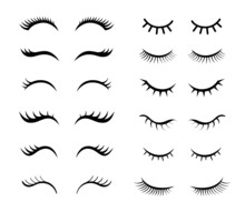 Eyelashes For Girls Simple Vector Illustrations Set. Collection Of Mascara Styles For Makeup, Closed Girly Eyes With Beautiful Lashes Isolated On White Background. Beauty, Fashion, Makeup Concept