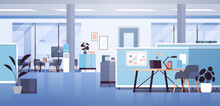 Modern Coworking Area Office Interior Empty No People Open Space Cabinet Room With Furniture Horizontal