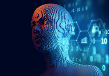 3d Illustration Of Cubic Human Form On Technology Background.