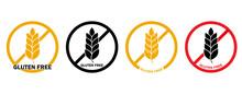 Gluten Free Icon Set, Isolated On White Background. No Grain Symbol. Vector Round Badge