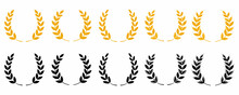 Gold Laurel Wreath - A Symbol Of The Winner. Wheat Ears Or Rice Icons Set. Agricultural Symbols Isolated On White Background. Design Elements For Bread Packaging Or Beer Label. Vector Icon Set.