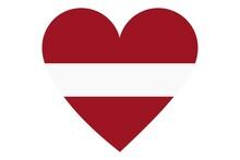 Latvia Flag In Heart Shape Isolated On White Background.