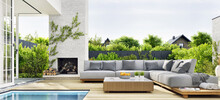 Outdoor Patio Area With Garden Furniture, Swimming Pool And Outdoor Fireplace