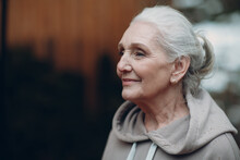 Portrait Of Mature Gray Haired Elderly Woman Outdoor