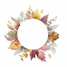 Watercolor Vector Autumn Frame With Leaves And Branches.