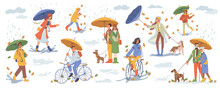 Rainy Weather In Autumn Season, People Under Rain With Umbrellas And Raincoats. Man Woman Walking Dog, Person Riding On Bicycle, Stroll, Young Parents, Seniors. Cartoon Character In Flat Style Vector