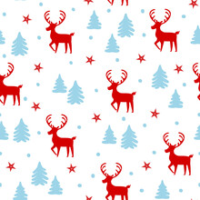 Merry Christmas And Happy New Year Winter Seasonal Xmas Seamless Pattern With Deers And Pine Trees Forest, Endless Repeatable Textue , Vector Illustration Graphic