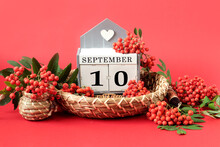 Calendar For September 10 : The Name Of The Month In English, Cubes With The Number 10 On A Decorative Tray, Branches Of Red Mountain Ash Around On A Crimson Background, Side View