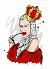 Portrait Of A Beautiful Girl In A Crown. Fashion & Style. Crown, Queen.