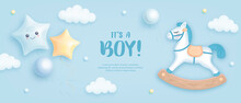 Baby Shower Horizontal Banner With Cartoon Horse And Helium Balloons On Blue Background. It's A Boy. Vector Illustration