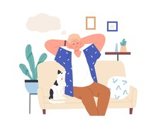 Relaxed Person Imagining And Dreaming Of Smth Pleasant. Happy Man With Closed Eyes Resting At Home, Thinking And Fantasizing. Guy In His Thoughts. Flat Vector Illustration Isolated On White Background