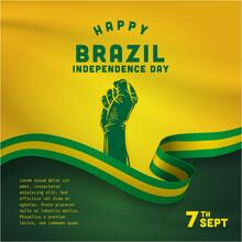 Square Banner Illustration Of Brazil Independence Day Celebration. Waving Flag And Hands Clenched. Vector Illustration.