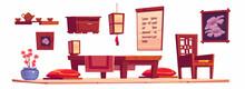 Vector Cartoon Interior Of Chinese Living Room