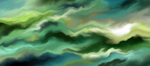 Beautiful Abstract Image For Creative Design Of Posters, Cards, Packaging, Banners, Websites, Wallpapers, Invitations, Magazines, Branding. Elegant Glamorous Style. Green And Turquoise Waves.
