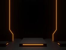 3D Black Scientific Podium With Golden Neon Lights