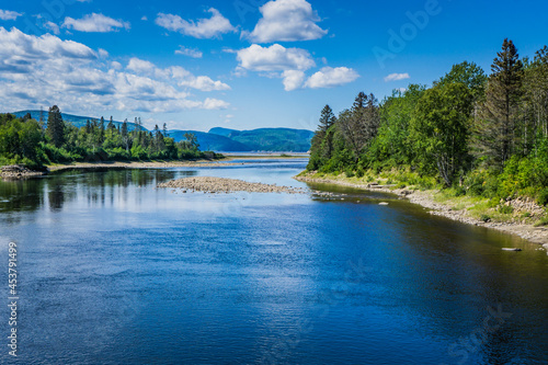 Canvas Print Bay Mill, where river meets the Saguenay Fjord, on the Fjord hiking trail near S