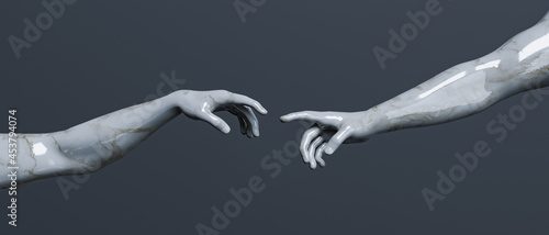 Stampa su Tela marble sculpture of creation of adam