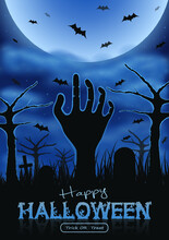 Halloween Party Poster With Zombie S Hand, House, Tree And Bats. Foggy Graveyard Landscape At Night.