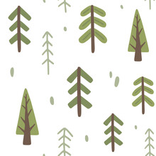Forest Fir Tree Abstract Pattern. Seamless Texture For Textile, Fabric, Apparel, Wrapping, Paper, Stationery.