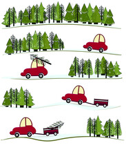 Vector Set With Christmas Tree And Car.