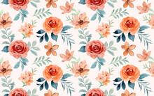 Seamless Pattern Of Brown Rose Flower Watercolor