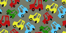 Seamless Pattern Of Multicolored Cars On A Gray Background. Great Background For Children Decor: Wallpapers, Fabrics And Other Designs
