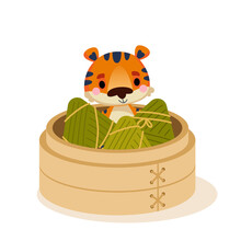 Zongzi On Bamboo Leaves. Rice Dumpling From Bamboo Steamer To Celebrate Dragon Boat Festival. Tiger Cub Cartoon Peeking Out Of The Plate. Taiwan Traditional Food. Vector Art Duanwu Holiday
