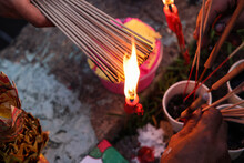 Chinese Hungry Ghost Festival Burning Flame Fire Colourful Variety Prayer Paper Joss Money Fake Currency Joss Stick Mini Fag Food Fruit