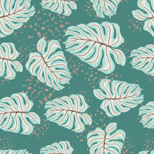 Abstract Seamless Pattern With Blue Random Palm Leaf Monstera Ornament. Turquoise Background With Splashes.