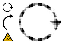 Halftone Rotate CW. Dotted Rotate CW Constructed With Small Circle Pixels. Vector Illustration Of Rotate CW Icon On A White Background. Halftone Pattern Contains Round Pixels.