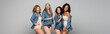 Positive multiethnic women in lingerie and denim shirts isolated on grey, banner