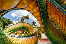 Colorful And Beautiful King Of Nagas Or Serpent At Phrathat Nong Bua Temple. Ubon Ratchathani Province, Thailand, ASIA