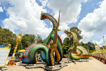 Ubon Ratchathani, Thailand - August 25, 2021; Colorful And Beautiful King Of Nagas Or Serpent At Phrathat Nong Bua Temple, Ubon Ratchathani Province, Thailand, ASIA.