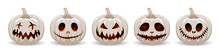 Set Pumpkin On White Background. The Main Symbol Of The Happy Halloween Holiday. White Pumpkin With Smile For Your Design For The Holiday Halloween.