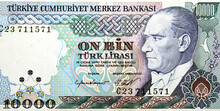Obverse Side Of 10000 Ten Thousand Turkish Lira Banknote Currency Year 1989 Issued By Central Bank Of Turkey With The Portrait Of President Mustafa Kemal Ataturk, Non Circulating, Old Vintage Retro