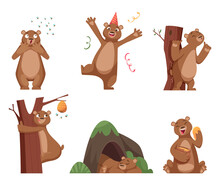 Bear Cartoon. Wild Funny Animal In Action Poses Brown Comic Bear With Honey Exact Vector Characters Set