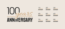 Set Of Anniversary Icons. Decades Logotype Celebration. 10, 20, 30, 40, 50, 60, 70, 80, 90, 100. Vector Illustration