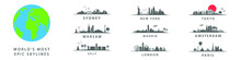 Collection Of World's Most Epic Skylines, Big Cities On Globe, Warsaw, New York, Sydeny, Tokyo, Amsterdam, London, Paris