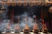 Incense Sticks In A Temple